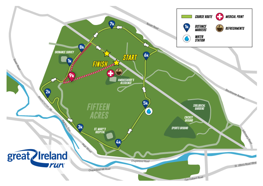 Great Ireland Run Course Map